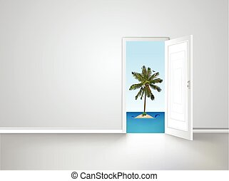 Door to island view behind an open door concept. Vector...