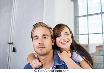 Close up Young Sweet Couple Girlfriend Embracing Boyfriend...