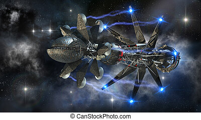Futuristic military spacecraft in the initiating state of a...