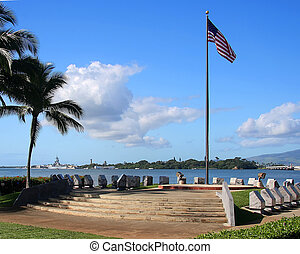 Pearl Harbour - The America flag flying at Pearl Harbor