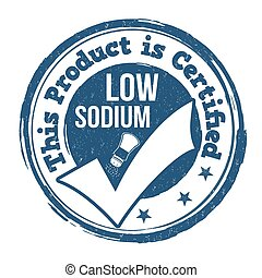 Low sodium stamp - Low sodium grunge rubber stamp on white...
