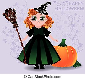 Happy Halloween Cute little witch and pumpkin background