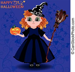 Happy Halloween Little girl witch and pumpkin card