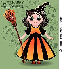 Happy Halloween Little girl witch postcard