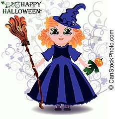 Happy Halloween Little witch with pumpkin doll vector
