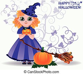 Happy Halloween Cute little witch and pumpkin card vector