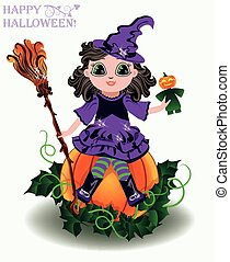 Happy Halloween Little cute witch with pumpkin doll