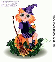 Happy Halloween Little witch and pumpkin doll , vector