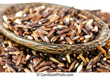 Brown Rice isolated on the white background