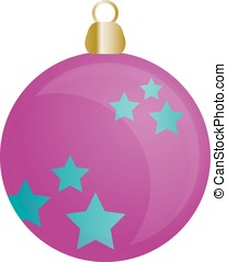 Christmas ornament for Christmas tree in blue and pink color