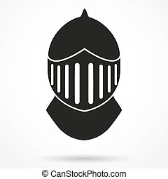 Silhouette symbol of Knights Helmet Vector Illustration -...