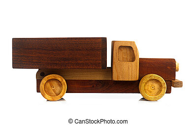 Vintage Toy Car Isolated. - Wooden truck toy isolated on...