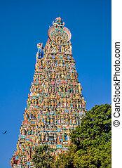 Meenakshi Amman Temple - Colorful tower of Meenakshi Amman...