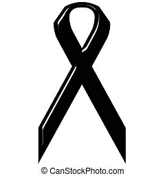 3D Black Ribbon - Black sorrow ribbon isolated in white