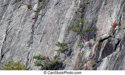 Rock Climbers Barrett Cove Cliff - Video of two rock...
