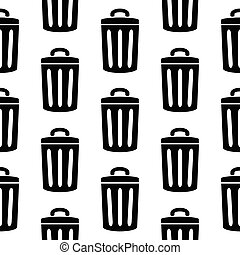 Garbage icon seamless pattern on white background Vector...