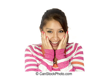 Hispanic girl surprised - Hispanic (Bolivian) girl with her...