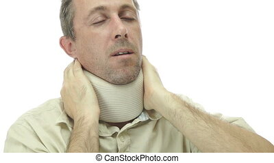 Male Neck Support Brace With Pain - A man isolated on a...