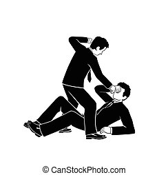 businessman fighting - This is an illustration of...