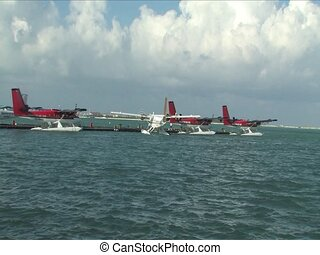 Seaplane taking from Maldives Islands
