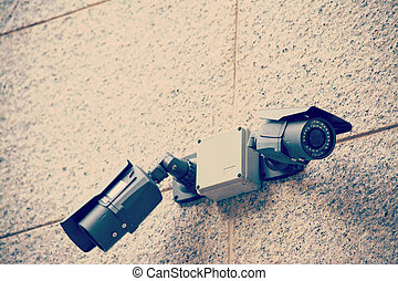 security cameras in vintage tone