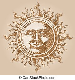 Old-fashioned sun decoration Eps8 CMYK Organized by layers...