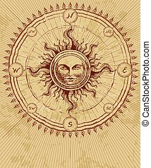 Compass rose with sun on grunge background. Eps8. CMYK....