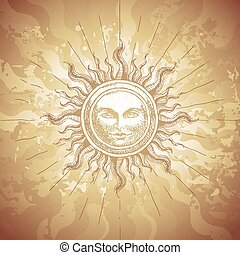 Old-fashioned sun decoration on grunge background. Eps8....