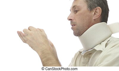 Male Neck Support Brace Takes Pills - Isolated on white,...