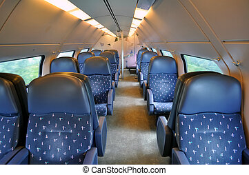 Passenger train coach - Travel: transportation by train in...