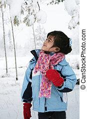 Little girl in winter