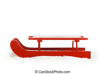 Wooden red sled isolated on white background