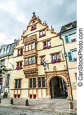 Maison des Tetes medieval house in the city of Colmar along...