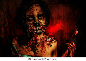 zombie woman - Scary bloody zombie girl with an ax....