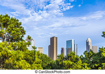 cityscape of Houston with trees