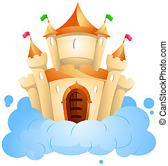 Castle on Cloud with Clipping Path