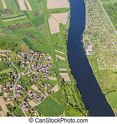 aerial of landscape with river near Krakow
