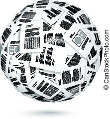 Ball of documents - Large group of documents forming the...