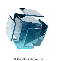 glass cube composed by smaller glass squares. digitally...