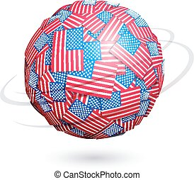 Vector US flags sphere - Sphere made from US flags Eps10...