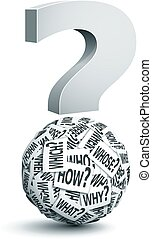Question Mark - Vector paper ball with question words....