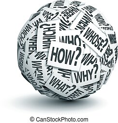 Question words - Vector paper ball with question words....