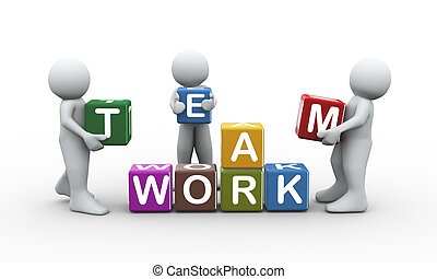 3d people team work cubes