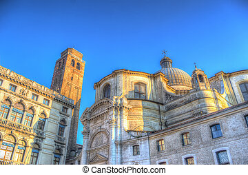San Geremia steeple and dome in Venice, Italy. Processed for...