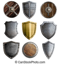 Medieval shields or badges set isolated on white