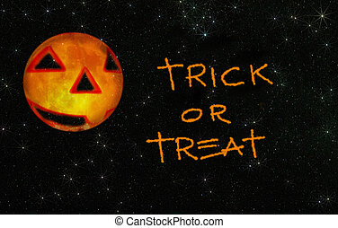 trick or treat with stars - trick or treat written on a...