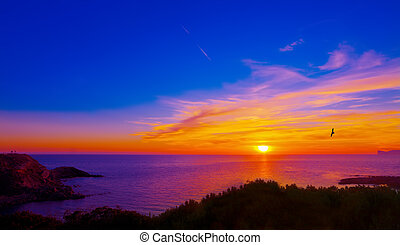 colorful sunset in Alghero coastline