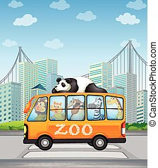 Animals and bus - Illustration of many animals on a bus