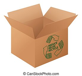 Recycle - Illustration of a box with recycling logo