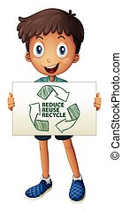 Recycle - Illustration of a boy with a recycling sign